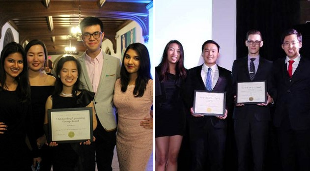 Members of Synergy (left) and CASSU (right) hold their award plaques at the UTSU Unity Ball.