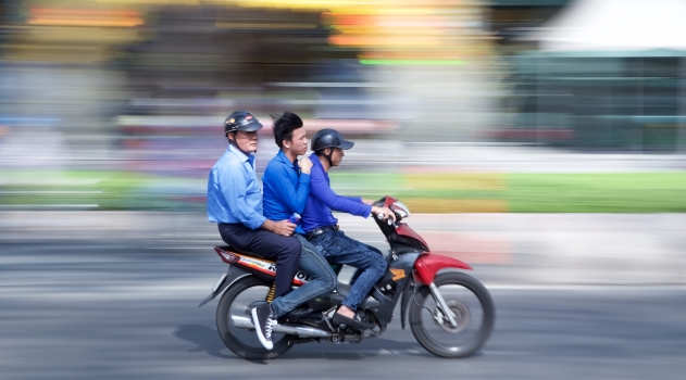 motorcyclists in Ho Chi Minh City, Vietnam.