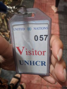 United Nations High Commission for Refugees (UNHRC) visitor pass. Photo: Kassandra Neranja.
