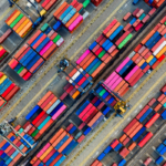aerial view of container port