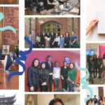 A photo collage of CAS students superimposed with celebratory confetti designs