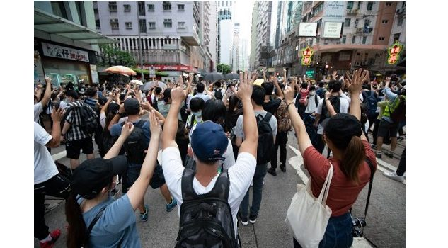 protesters in the street of Hong Kong