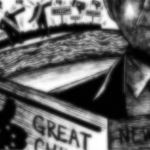 Illustration of man reading newspaper with Trump and Biden figures and campaign signs in background.