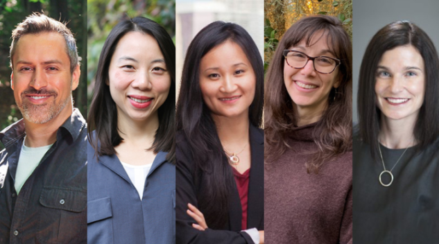 Photo of College of New Scholars members from left: Marc Cadotte, Aimy Bazylak, Diana Fu, Chelsea Rochman and Kelly O'Brien
