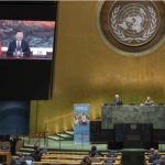 Chinese President Xi Jinping (on screens), speaking during the 75th General Assembly of the United Nations, in New York.