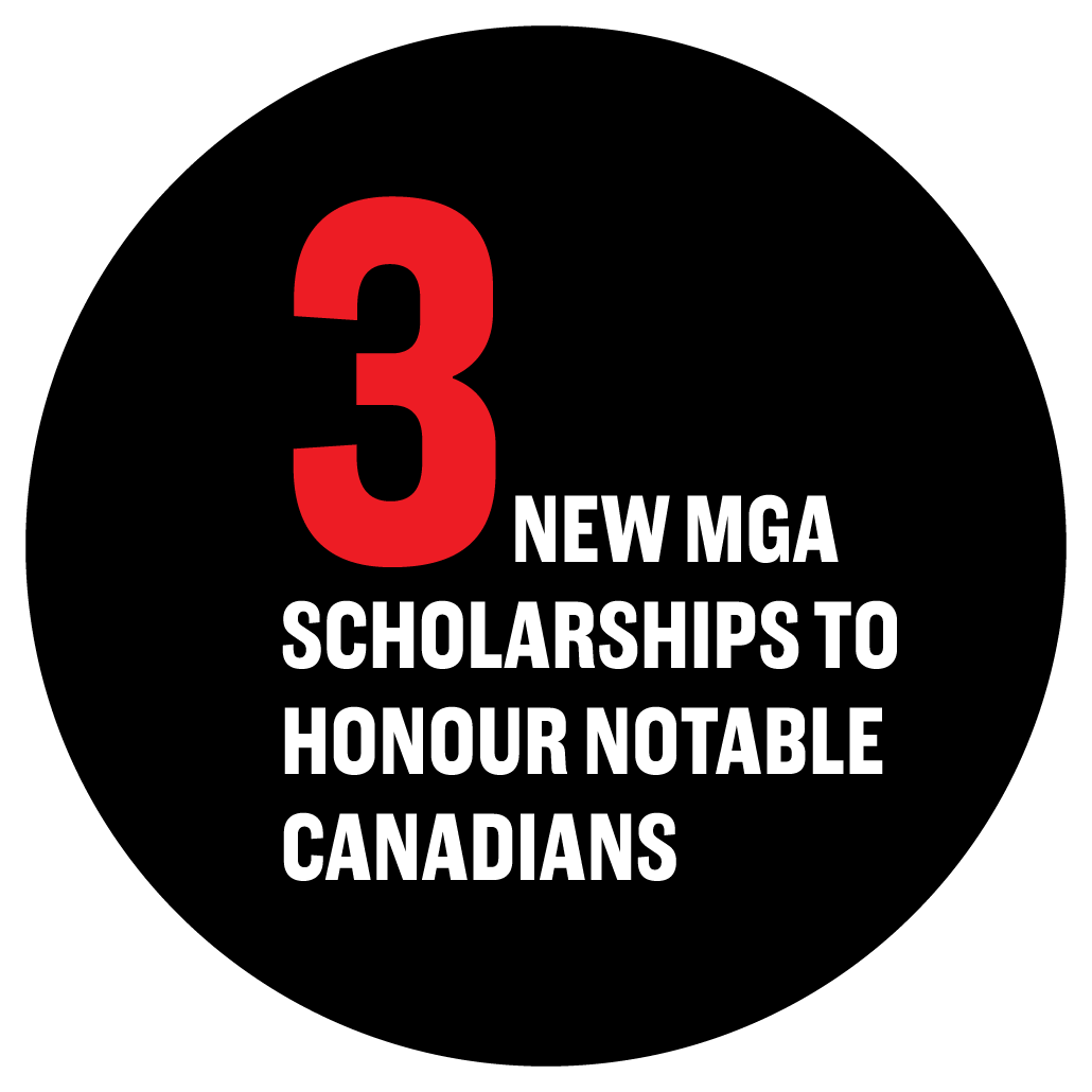 3 new MGA scholarships to honour notable Canadians.