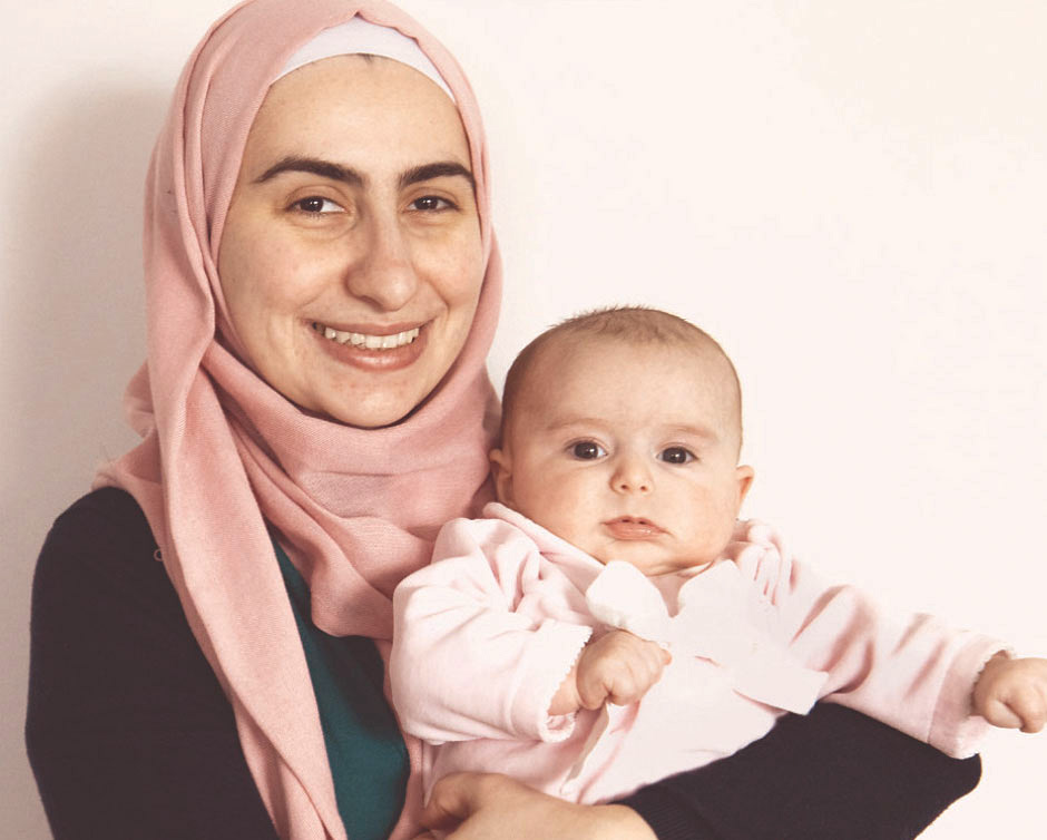 Noura Al-Jizawi with her three-month-old baby Naya.