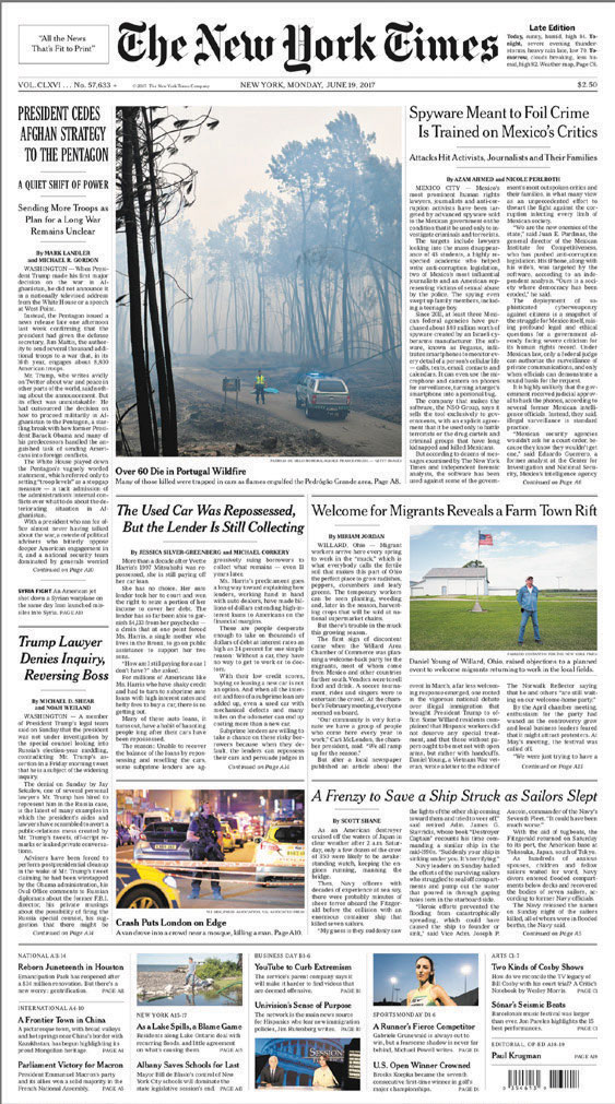 Front cover of New York Times.