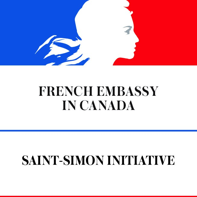 "Logo for the ""French Embassy in Canada"" - a woman's head with flowing hair superimposed on the French colours of blue and red"