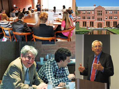 This is a photo collage representing the Petro Jacyk Program for the Study of Ukraine featuring Dr. Zbigniew Wojnowski, Dr. Peter Solomon, Dr. Norman Naimark, and participants of the International Graduate Student Symposium in Toronto in 2012