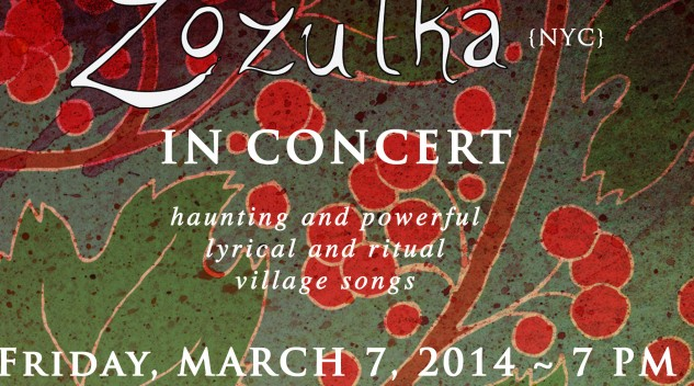 a fragment of the concert flyer containing concert details on the green and red back ornamental background