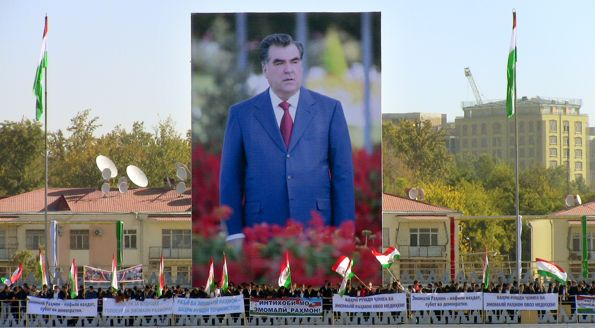 A photograph of a public meeting in support of the Tajik president Rakhmon