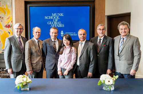 Left to right: Stephen Toope, director of the Munk School of Global Affairs; David Cameron, dean of the Faculty of Arts & Science; Randall Hansen, director of the Centre for European, Russian, and Eurasian Studies; Taiyan Liu, student in the Hellenic Studies program; John Dagonas, president of the Hellenic Heritage Foundation; John Sotos, vice-president of endowments & major projects, Hellenic Heritage Foundation; and Steve Mirkopoulos; vice-president of fundraising, Hellenic Heritage Foundation.