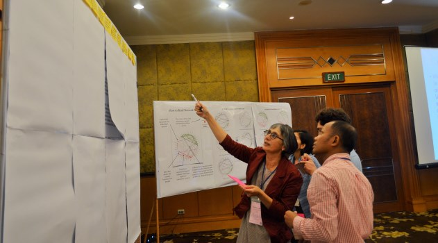 Amrita Daniere, UCRSEA Co-Director, during a project evaluation exercise with other network members