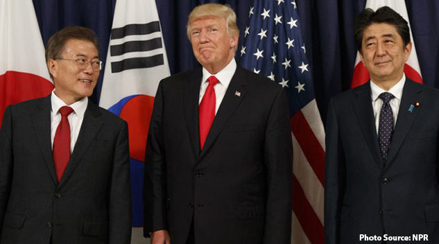 President Trump meets with Japanese Prime Minister Shinzo Abe (right) and South Korean President Moon Jae-in before the Northeast Asia Security dinner at the U.S. Consulate General in Hamburg, Germany, on July 6