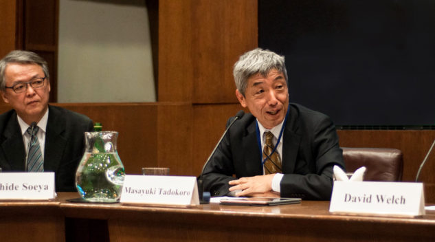 "Image of Yoshihide Soeya and Masayuki Tadokoro speaking at ""Japan as a 'Normal Country'? Retrospect and Prospect"""