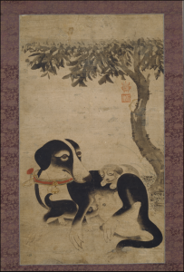 Painting-of-a-Dog-and-Puppies_Mogyeondo_Joseon-Dynasty_artist-Yi-Am_National Musuem of Korea