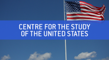 "American flag in the blue sky blow in the wind, text reads: ""Centre for the Study of the United States"" (Photo Credit: https://www.flickr.com/photos/aloha75/4533114853)"