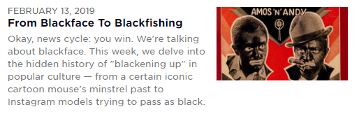 From Blackface to Blackfishing