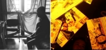A thumbnail image with the left half of the image showing a detail of Amanda Ann-Min Wong's winning photo series and the right half showing a detail of a still image from Cheryl Cheung winning video