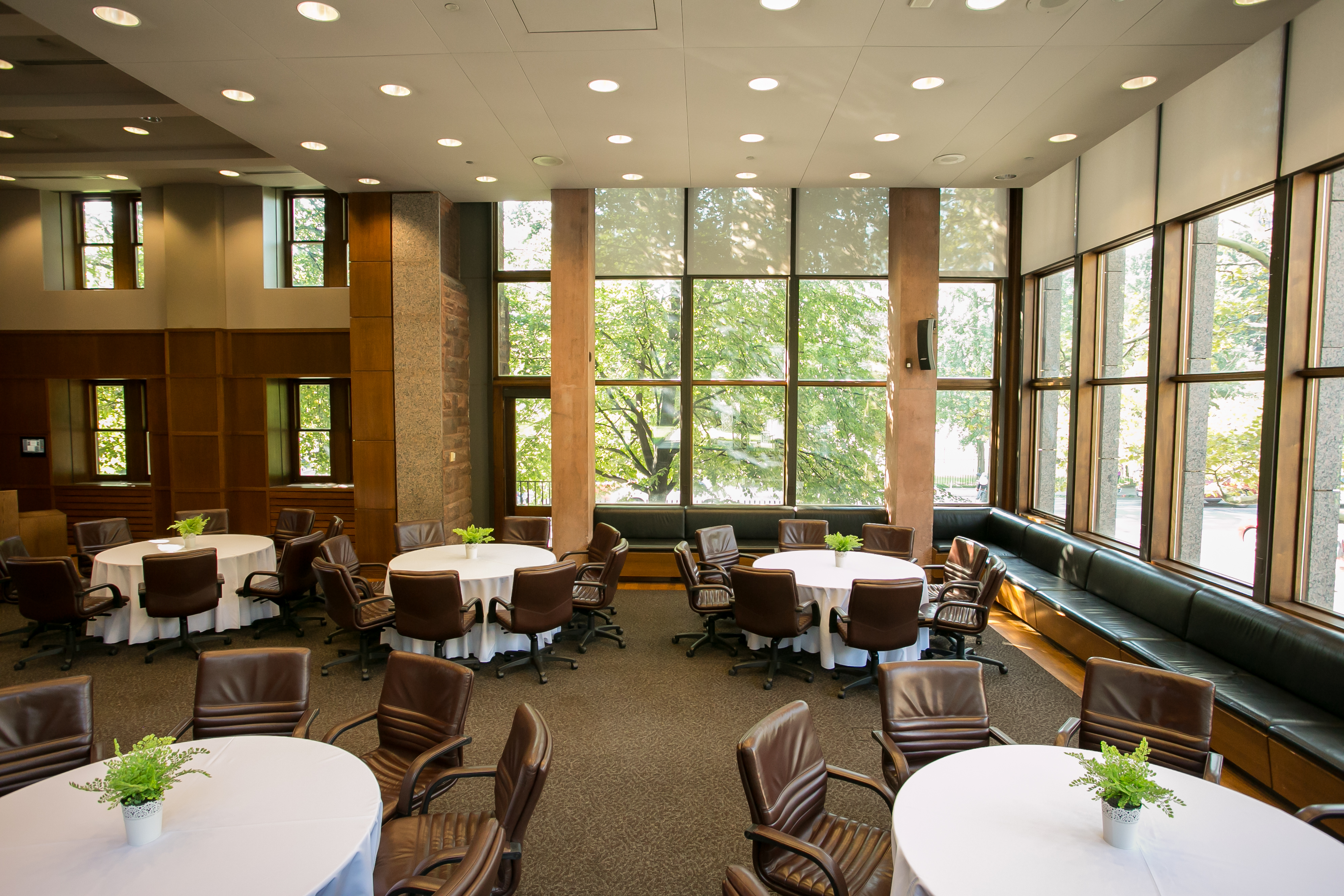 Round tables at the Campbell Conference Facility