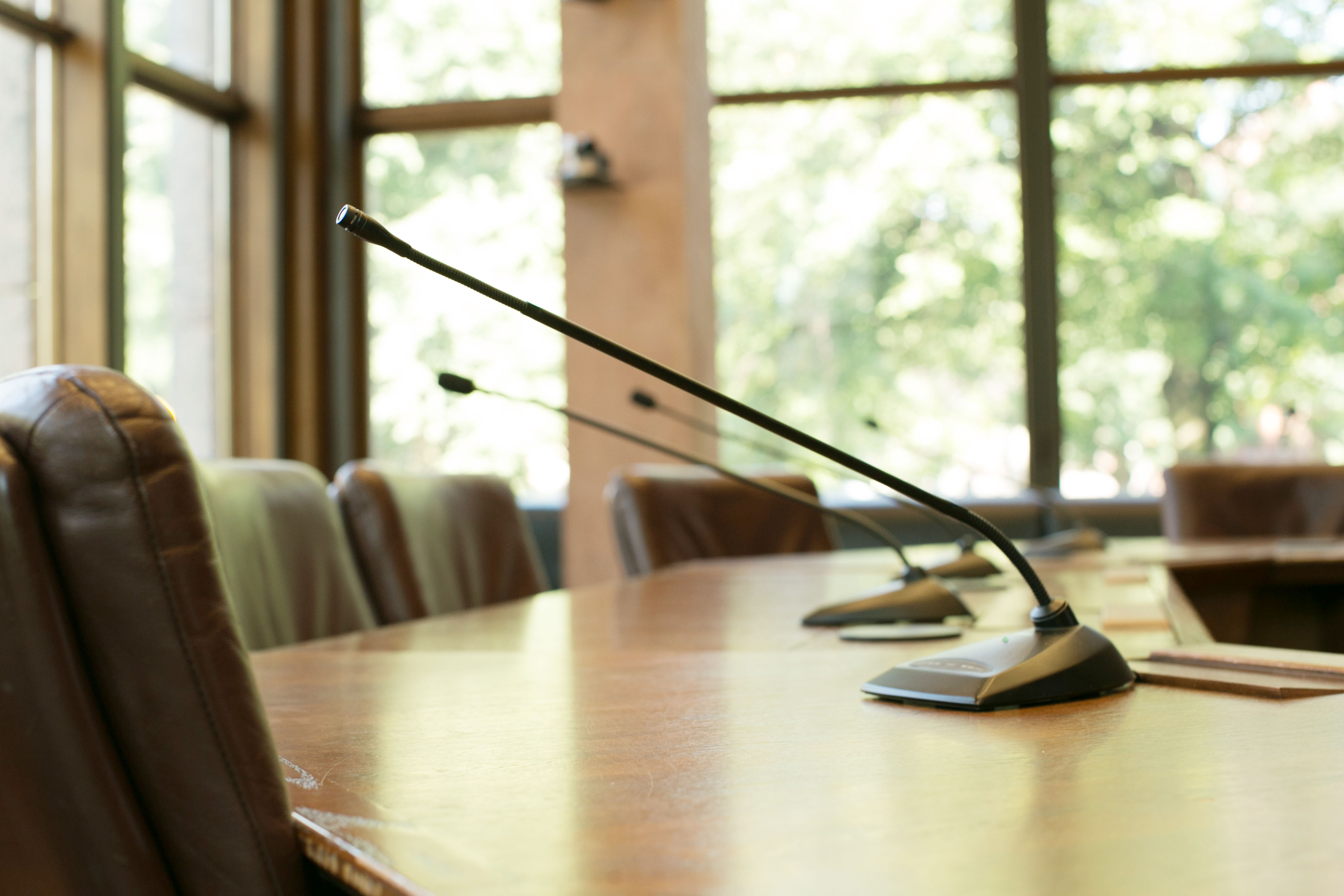 Microphones on the boardroom table in CCF