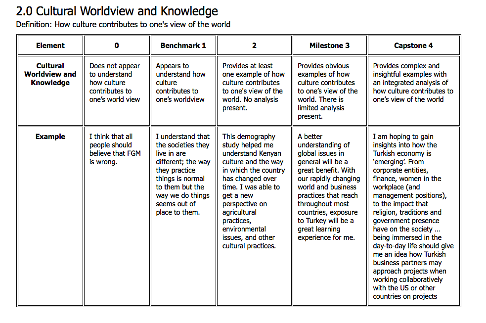 Source: International Cross-Cultural Experiential Learning Evaluation Toolkit (2015). Assessment Rubric .