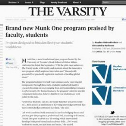 Screenshot of the Varsity Article