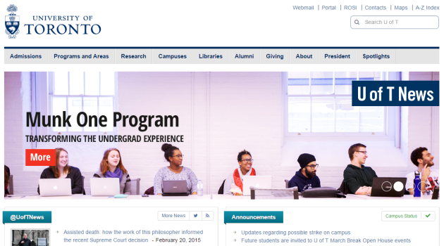 Screengrab of Munk One feature on U of T's home page