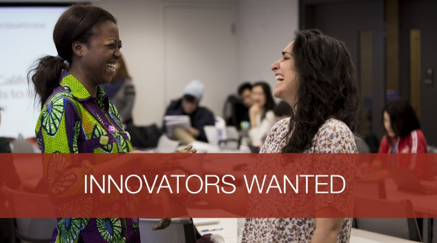 "Banner stating ""Innovators Wanted"""