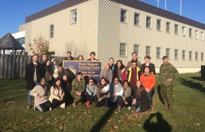 PCJ students with members of the Canadian Armed Forces outside the Peace Support Training Centre