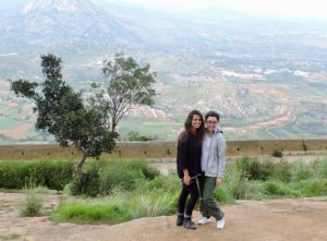 Salina and Natalie hiking at Nandi Hills.