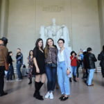 PCJ students Tea Cimini, Ivana Vujeva, and Natalie Boychuk pose for a photo in front of the Lincoln Memorial in Washington, D.C.