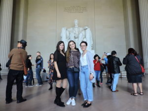 PCJ students pose for a photo in front of the Lincoln Memorial in Washington, D.C.
