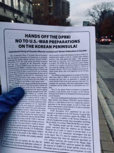 An information handout arguing for a petition to stop US rhetoric with North Korea.