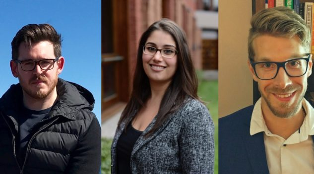Portrait photos of the three 2017-18 PCJ Fellows.