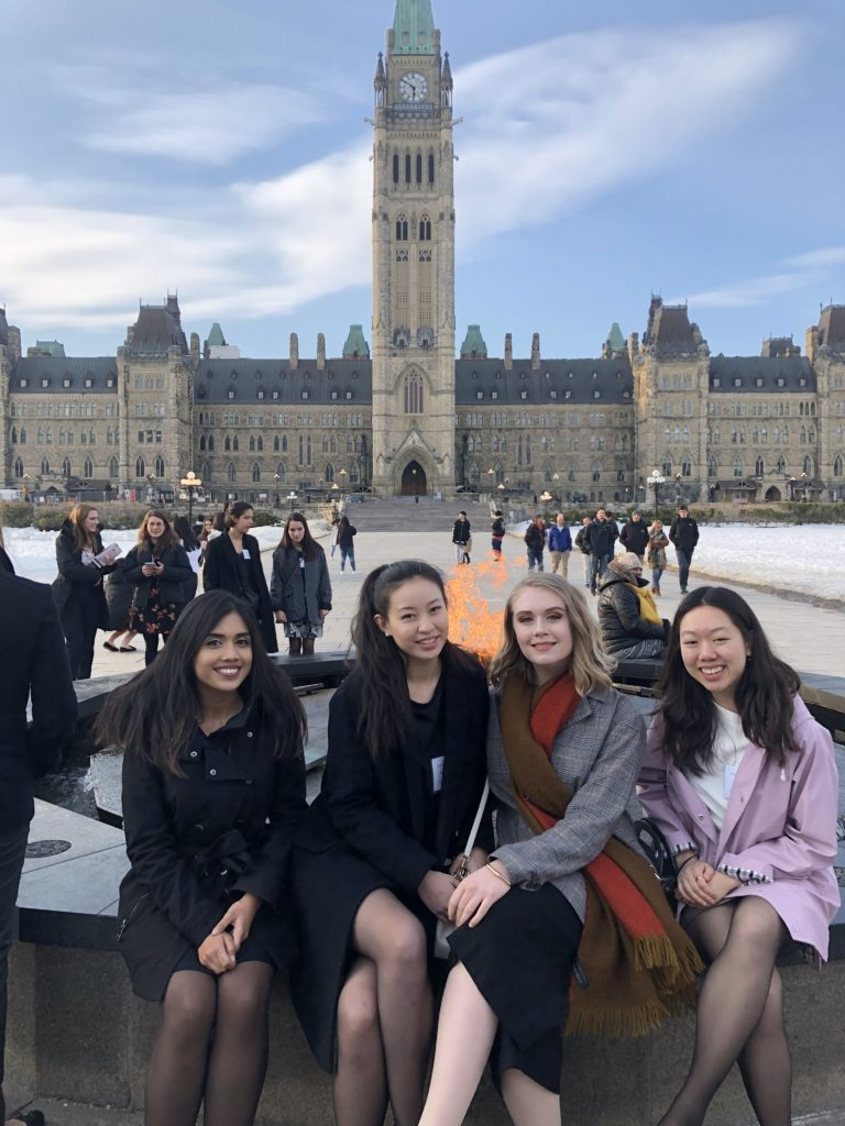 Photo of PCJ students Moyukh Syeed, Monica Yao, Mira Pijselman, Annie Ding on Parliament Hill