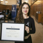 Sydney Narciso Wilson, recipient of the Award for Scholarly Achievement in the Area of Gender-Based Violence, as part of the National Day of Remembrance & Action on Violence Against Women events in Hart House at the University of Toronto, Friday, November 29, 2019. (Photo by Nick Iwanyshyn)