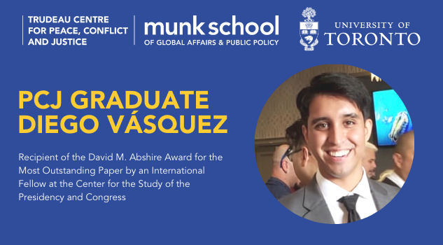"""Graphic design with student Diego Vasquez. The text reads """"PCJ Graduate Diego Vasquez. Recipient of the David M. Abshire Award for the Most Outstanding Paper by an International Fellow at the Center for the Study of the Presidency and Congress."""