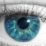 Picture of an eye colour corrected to blue and grey