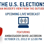 A feature slide saying tune in to watch Ambassador David Jacobson live