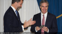 """Photo of Michael Ignatieff as he receives the """"Francisco Cerecedo Journalism Award"""" from Prince Felipe of Spain at the Ritz Hotel on November 20, 2012 in Madrid, Spain."""
