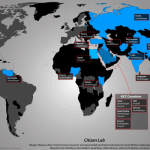 World Map showing Blue Coat Installations (Created by Citizen Lab)