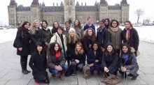 Group photo showing the The inaugural cohort of U of T's Women in House program on Parliament Hill