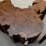 Photo of Art from the AGO's Ai-WeiWei Exhibit, showing a realized sculpture of China's shape as a country created with wooden log