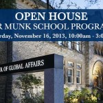 "Photo of Munk School building at night - caption reads: ""Open House for Munk School Programs - Saturday, November 16, 2013, 10:00am - 3:00pm"""