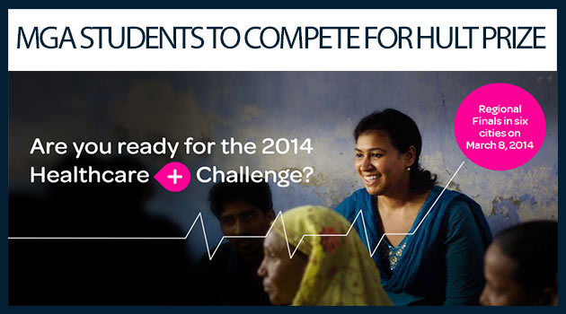 "Photo showing students engaging in conversation, caption reads ""MGA STUDENTS TO COMPETE FOR HULT PRIZE"""