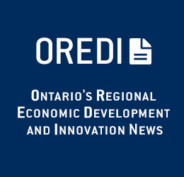 "Text reads on a blue background, ""OREDI: Ontario's Regional Economic Development and Innovation News"