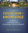 Book cover showing university landscape transposed with water (title: The Fountain of Knowledge)