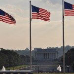 Photo of three flags and Lincoln Monument by Roger Schultz